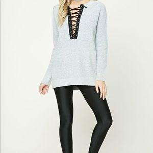 Marled Knit Lace-Up Sweater, Light Grey